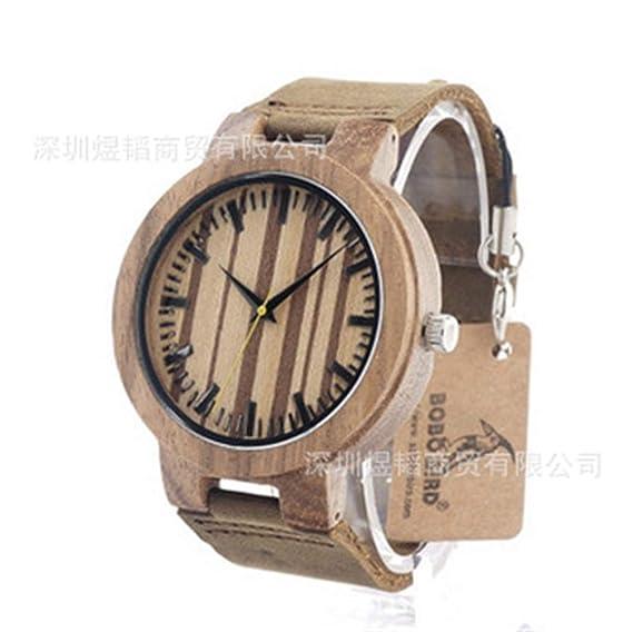 HWCOO Hermosos Relojes De Madera Mesa de bambú con Correa de Cuero Woody Bobo Bird (Color : 1): Amazon.es: Relojes