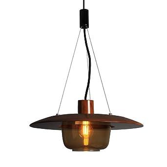 Moderno industrial colgante luz marrón vidrio y madera ...