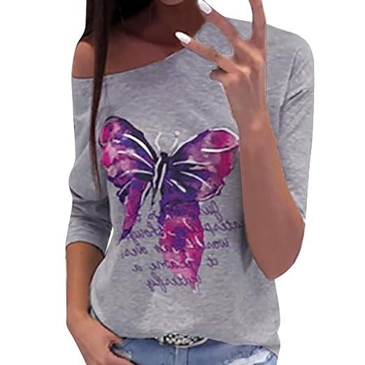Luckycat Blusa de Manga Larga para Mujer Blusa de Cuello Redondo Estampado para Mariposa: Amazon.es: Ropa y accesorios