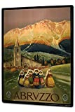 Tin Sign XXL Travel Kitchen Abruzzo mountain village church women dress