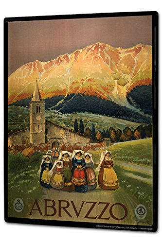 Tin Sign XXL Travel Kitchen Abruzzo mountain village church women dress by LEOTIE