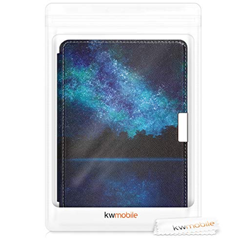 kwmobile Case Compatible with Kobo Aura Edition 2 - PU e-Reader Cover - Cosmic Forest Blue/Black