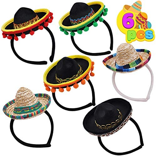 6 PCS Cinco De Mayo Fiesta Fabric and Straw Sombrero Headbands Party Costume for Fun Fiesta Hat Party Supplies, Luau Event Photo Props, Mexican Theme Decorations, Dia De Muertos and Party Favors