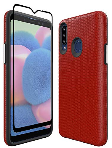 Thinkart Galaxy A20S Case with Tempered Glass Screen Protector,Anti-Slip Non-Slip Texture Protection Hard Cover for…