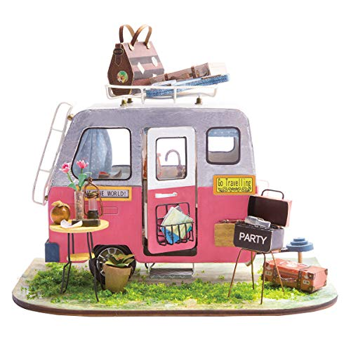 Rolife Mini DIY House Kit-Woodcraft Construction Kit-Wooden Model Building Set-Mini House Crafts-Creative Birthday for Boys Girls Women and Friends(Camper) ()