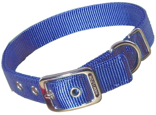 Image of Hamilton Double Thick Nylon Deluxe Dog Collar, 1-Inch by 18-Inch, Berry Blue