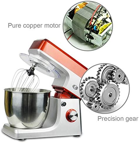 ZJHCC Keukenmachine kneedmachine mengen, 7 l roestvrij stalen mengkom, 6-speed tilt-head food mixer, keukenmixer met deeghaak, draadzweep en beater 1200 W