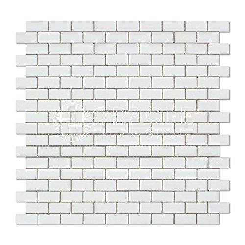 Thassos White Greek Marble Mini Brick Mosaic Tile, (Limestone Mosaic Tile)