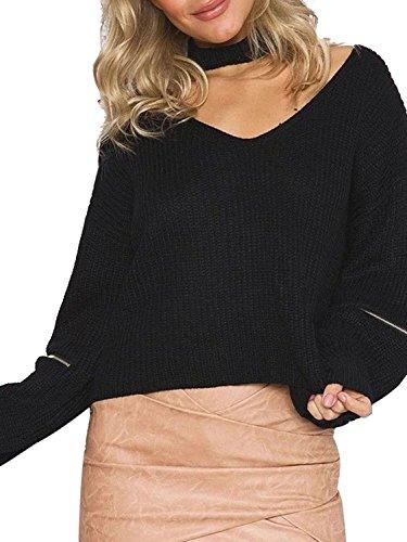 Choies Women Black V-neck Choker Zipper Sleeve Loose Knit Jumper Sweater Onesize