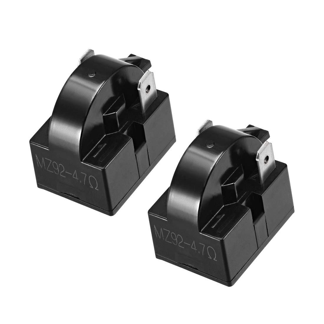 uxcell 2 Pcs 4.7 Ohm 2 Pin Refrigerator PTC Starter Relay Black