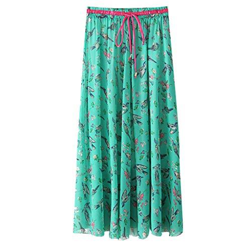 WOCACHI Womens Boho High Waist Skirts Floral Print Casual Beach Maxi Long Skirt 2019 Summer Deals Fashion Ladies Sundress Polka Dot Bohemian Ankle Length Mini Vacation Beachwear