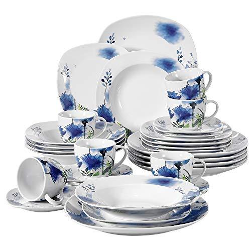 - VEWEET 30-Piece Porcelain Dinnerware Set Royal Purple Flower Patterns Kitchen Dinner Soup, Dessert Plate, Saucer and Mug, Service for 6 (Laura Series)