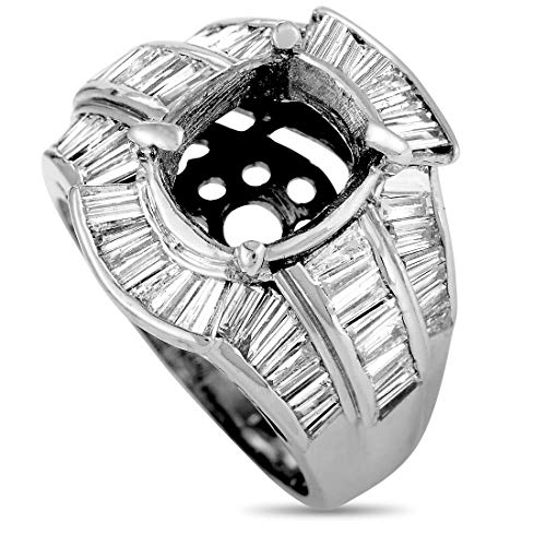 Luxury Bazaar 18K White Gold Tapered Baguette Diamond Mounting -