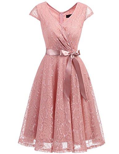 DRESSTELLS Short V Neck Bridesmaid Ruched Dress Lace Cocktail Dresses With Belt Blush L
