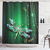 Printed House Dragonfly Shower Curtain Vivid Figures in Gemstone Crystal Diamond Shapes Graphic