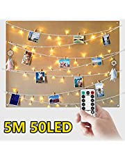 5M 50 LED Fairy Lights Bedroom LED Photo Clip String Polaroid Peg String Lights - Photo Frame Fairy Lights with Pegs for Photos with Remote