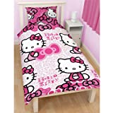 Hello Kitty Childrens Girls Bows Single/Twin Duvet Cover Pillowcase (Twin Bed) (Pink)