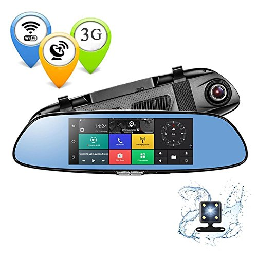 3G Dash Cam7.0 inch Touch Car DVR C08 Mirror Monitor Kit Bluetooth Wifi Dual Lens Rearview Mirror Android Car Video Recorder by PHISUNG