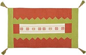 Turathna Cotton Charm Handmade Cross Stitch Tshareef Table Center Piece - Green And Orange