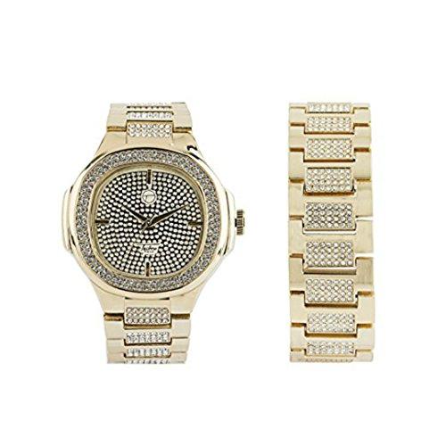 Men's Hip Hop Luxury Iced Out 14K Plated Metal Band Rapper's Bling Watch w/ Bracelet Set (Gold) 14k Yellow Gold Wrist Watch