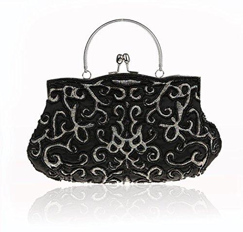 MIMI KING Rétro Handmade Soirée Sac À Main Pour Les Femmes Dîner Robe Embrayage Épaule Bandoulière Sac Bourse Black