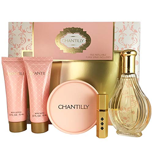 Dana Chantilly Set for Women, Body Lotion, Body Wash, Dusting Powder & Refillable Spray, EDT Spray 3 ()