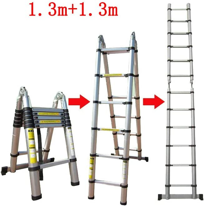 YYHSND Escalera telescópica Recta en Espiga Doble con Escalera Interior Plegable Escalera portátil de aleación de Aluminio Grueso Taburete (Size : 1.6m+1.6m): Amazon.es: Hogar