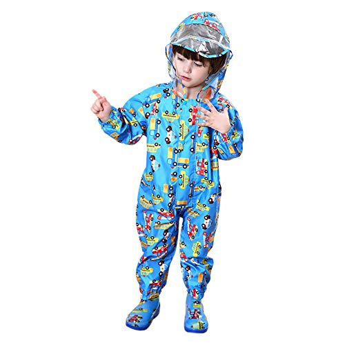 Unisex Baby Rainsuit, Rain Coverall, Outdoors Rain Suit for Toddlers Kids (Blue, 3-5 Years)