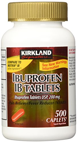 Kirkland Signature Ibuprofen IB tablets USP 200mg NSAID Easy Swallow Caplets, 500 Caplets