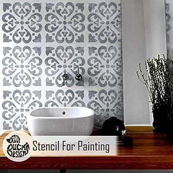 Tangier Carreau Meubles Mur Sol Pochoir Pour Peinture - X Petit