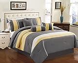 yellow bedding full - Chezmoi Collection 7-piece Sunvale Yellow Grey White Comforter Bedding Set (Full)