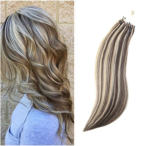 """Ugeat 14"""" 1g/s 50strands Micro Loop Hair Extensions Dip Dyed Chocolate Brown to Honey Blonde Micro Rings Loop Human Hair Extensions Straight Micro Ring Hair Extensions"""