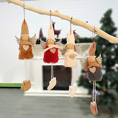 Romingo Plush Hanging Christmas Angel Ornaments Set of 4 Angels Decor for Christmas Tree Decoration (Ornaments Christmas Handmade)