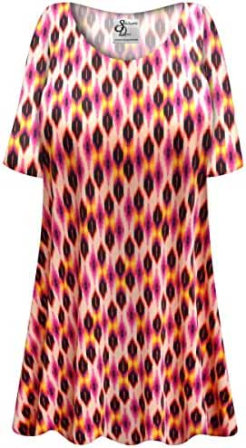 Magenta Orange Abstract Slinky Plus Size Supersize Extra Long A-Line Top