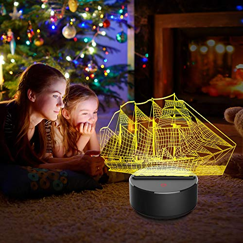 HOLD HIGH 3D Night Light for Kids, 7 Colors Touch Table Desk Lamps, LED Vision Illusion Lighting with USB, Art Bedside Lamp Toys (Sailboat)