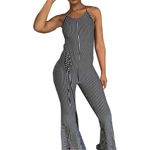 Gyoume Women Strappy Striped Jumpsuit Halter Rempers Backless Playsuit Party Clubwear Jumpsuit -