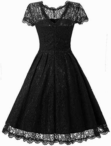Vintage Soire Noir Courtes Florale Dentelle FLYCHEN Robe Robe Patineuse avec Femme Lace 1950s de Manches Zqw4fIz