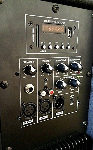 one lighted powered dual 15 dj speaker 3000 watts bluetooth