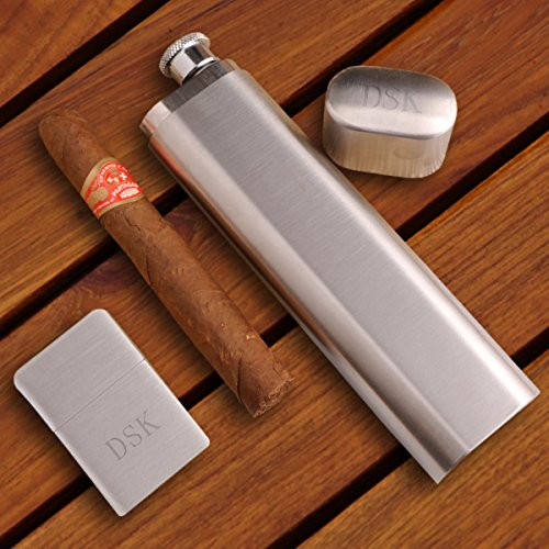 Personalized Cigar Flask with Brushed Silver Lighter Gift - Personalized Cigar Flask