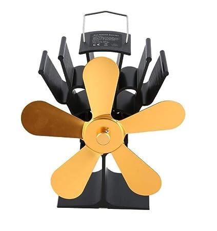 Fireplace Fan 5-Blade Heat Powered Stove para Estufa Y Chimenea,Chimenea Ultra Silenciosa