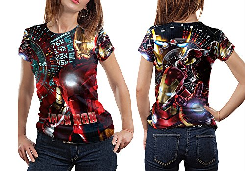 [Superhero Costume Tee Iron Man Fans Print Sublimation Women Top shirt Size : S to 3XL (T-Shirt,] (Fan Costumes)