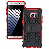 Heartly Flip Kick Stand Spider Hard Dual Rugged Shock Proof Tough Hybrid Armor Bumper Back Case Cover For Samsung Galaxy Note 7 - Hot Red
