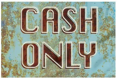 Cash Only 12x8 Ghost Aged Blue Heavy-Duty Outdoor Vinyl Banner CGSignLab