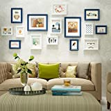 Photo Frames YXGH For Wall Wooden Modern Style Home Decoration Hanging Wall (Including Pictures),SET Of 15 Collage Frames (Color : Blue+white)