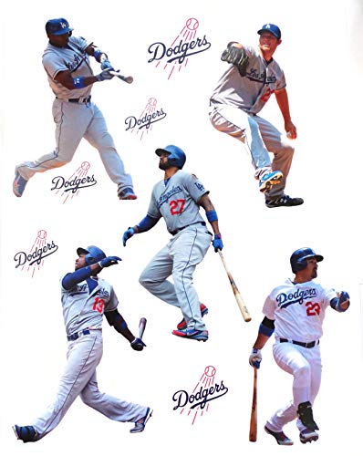 FATHEAD Los Angeles Dodgers Mini Team Set 5 Players, 5 Dodgers Logo, Official MLB Vinyl Wall Graphics - Each Player 7