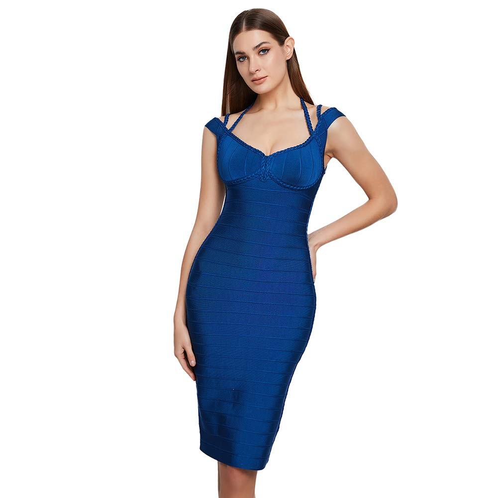 Lovelychica Dress for Women Elegant Three Strands Plait Sexy Bodycon Midi Dress Blue