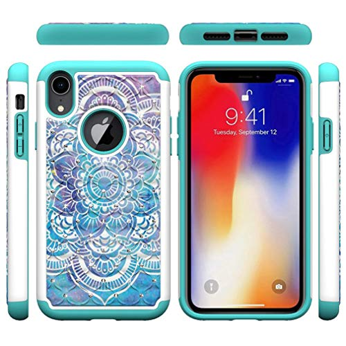 (iPhone XR Case,Impact Resistant 2 in 1 Hybrid Case Inner Soft TPU Bumper Hard PC Back Cover with Colorful Pattern & Point Drill Anti-Scratch Compatible with Apple iPhone XR [6.1 inch] -Mandala)