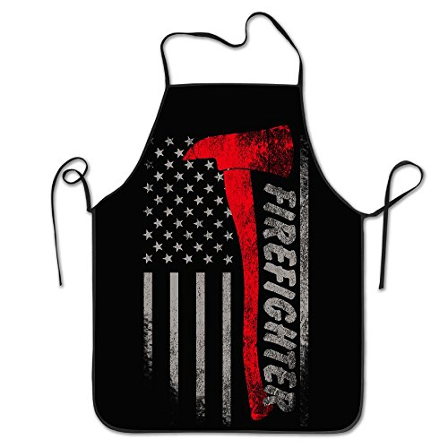 Firefighter Axe Red Line Flag Cooking Apron Kitchen Apron, Lock Edge Waterproof Durable String Adjustable Easy Care Aprons For Women Men (Firefighter Apron)