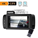 WIFI Car Dash Cam 4K with GPS, Anytek Touch Screen Dashboard Camera Front&Rear Recorder Ultra HD 2160P 2.7'' LCD 170° Wide Angle Video Recorder Camera,WDR,G-Sensor,Loop Recording,Super-Capacitor (G200)