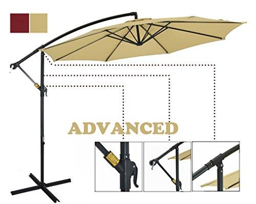 Patio Watcher 10 Ft Market Offset Umbrella, Cantilever Aluminum Umbrella with Crank, UV Resistant, 250 GSM Fabric, Air Vented Top, Beige
